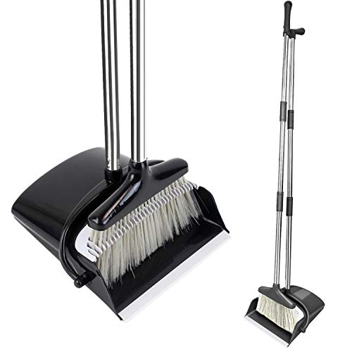 Angled Lobby Broom - HomTrip Broom and Dustpan Set, Upright Dust Pan and Broom with 51