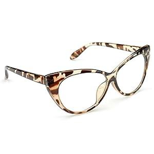 PenSee Womens Oval Cat Eye Retro Eyeglasses Frame Clear Lens Glasses (Leopard(Classic Cateye))