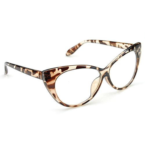 PenSee Womens Oval Cat Eye Retro Eyeglasses Frame Clear Lens Glasses (Leopard(Classic - Eye Glasses Cat Reading Shaped