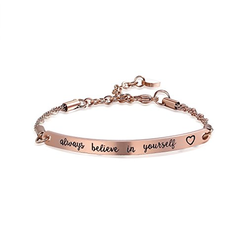 Inspirational Gift for Women Girls Daughter Inspirational Jewelry Inspirational Bracelet Engraved Always Believe in Yourself (Rose Gold-always believe in yourself)