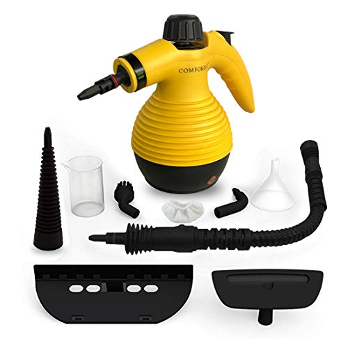 Comforday Surface & Much Multi-Purpose Handheld Pressurized Steam Cleaner with 9 Piece Accessories for Stain Removal, Carpets, Curtains, Car Seats, Kitchen Surface and Much More (Yellow) (Steamer Cleaning Hand)