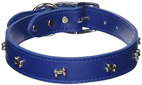 OmniPet Signature Leather Dog Collar with Bone Ornaments, Blue, 24