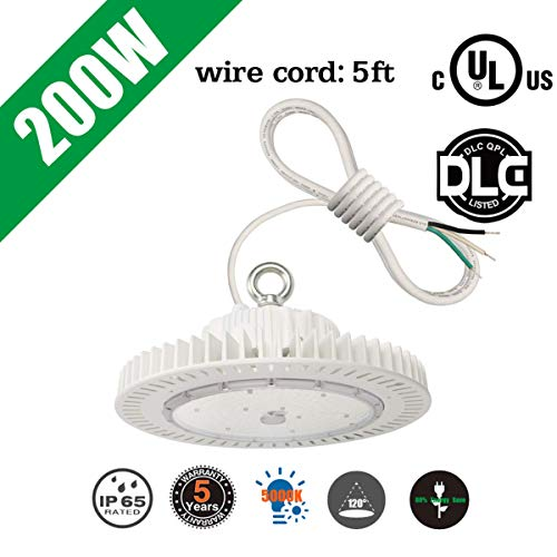 200 Watts LED High/Low Bay UFO Lighting Fixture Replace 1000W HPS Metal halide IP65 Waterproof 5000K Daylight for Gym Garage Factory Commercial Highbay/Lowbay UL DLC ()