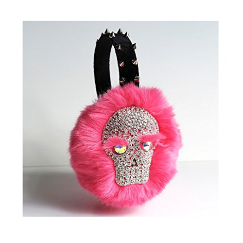 Pink jeweled earmuffs with Skull inspired by Scream Queens faux fur fall winter hair accessory bling ear warmers inspired by Chanel #3 OOAK gift for her ()