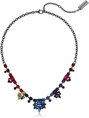 - Steve Madden Women's Rainbow Rhinestone Gunmetal-Tone Collar Statement Necklace