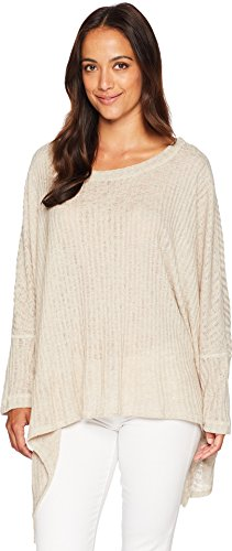 Nally & Millie Women's Ribbed Poncho Top Natural One Size (Ribbed Poncho)