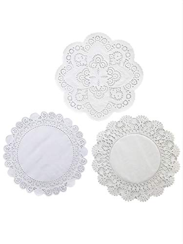 - Round Paper Lace Table Doilies - 12 inch White Decorative Paper Lace Doilies; Assortment of 3 differnt patterns (Pack of 30-10 of each)