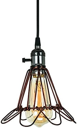 T A Bronze Wire Cage Pendant Light Adjustable Cage Openings,Vintage Industrial Style 1 Light Mini Edison Hanging Lighting for Kitchen Living Room Bathroom