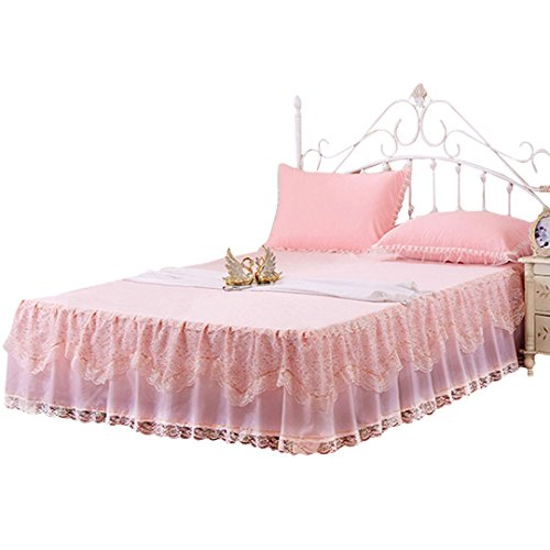 Mily Wrap-Around Floral Lace Bed Skirt Princess Bed Dust Ruffle Machine Washable Pink