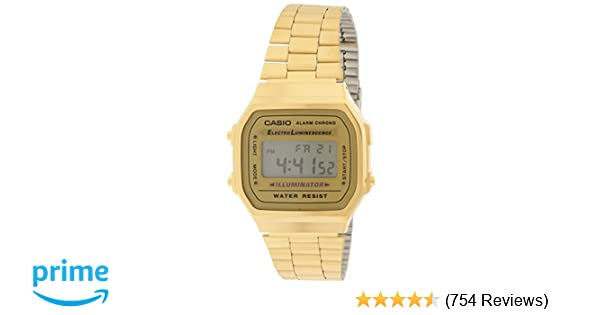 Amazon.com  Casio A168WG-9 Men s Vintage Gold Metal Band Illuminator  Chronograph Alarm Watch  Watches 3f1fc4bbf