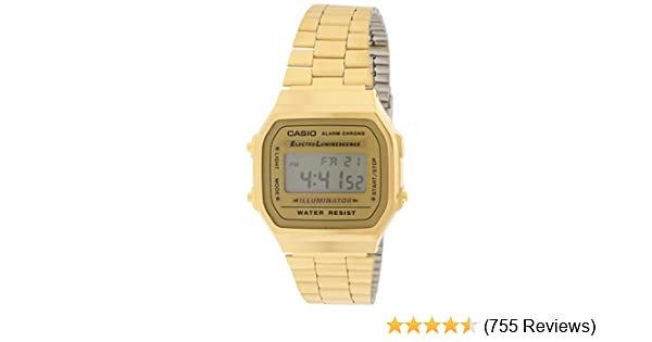 360680ccf1c Amazon.com  Casio A168WG-9 Men s Vintage Gold Metal Band Illuminator  Chronograph Alarm Watch  Watches