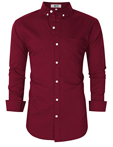 MrWonder Men's Casual Slim Fit Button Down Dress Shirt Long Sleeve Solid Oxford Shirt Wine Red ()