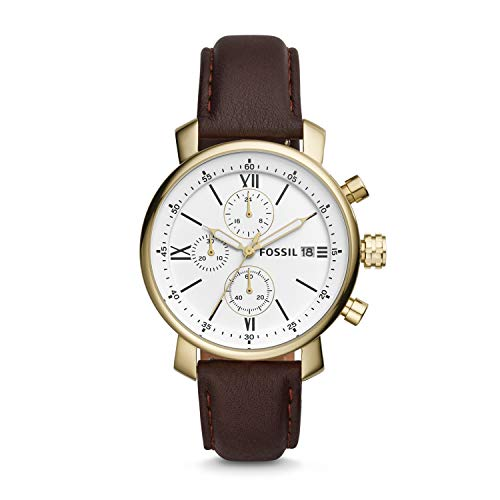 Fossil BQ1009 Men's Brown Leather Strap White Dial Chronograph Watch ()