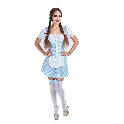 Charm Rainbow Women's Oktoberfest Costume Bavarian Dirndl Dress German Folk Dress(Blue,L) (German Folk Costume)