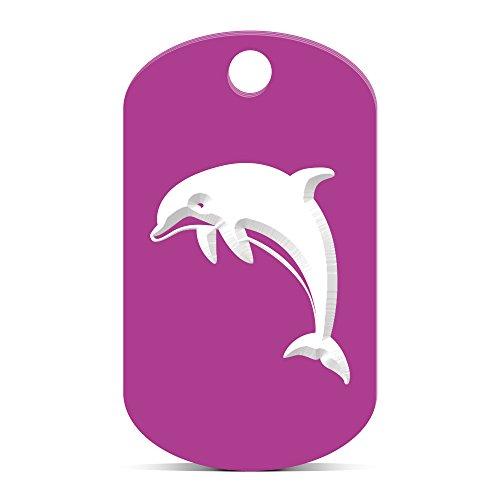 Dolphin Keychain GI Dog Tag engraved marine mammal ocean Purple