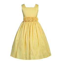Sweet Kids Big Girls' Slvless Dress Rolled Flw Waistband 10 Yellow (SK 3047)
