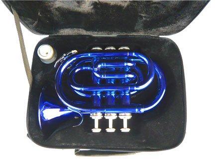 New BLUE Pocket Trumpet w/case-Approved+Warranty