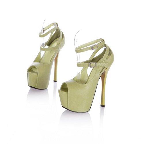 Buckle High Platform 5 UK Womens Heel Green Soft VogueZone009 Material 3 Open PU Sandals Solid with Stiletto Toe nRBxwOwWa