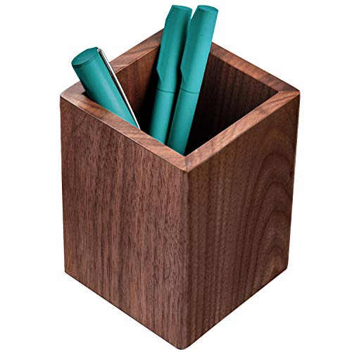 Wooden Pencil Holder (MaxGear Wood Pen Holder Desk Pencil Holders Wooden Pen and Pencil Organizer Cup for Desktop Pencils Stand Holder Cups, 3.13 x 3.13 x 4.33 inches, Walnut,)
