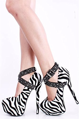 Women's Leopard Zebra Stiletto 2 Strap Shoes Ankle High Pumps Amy Round Platform Dress Q Rivets Heel Toe Sx5xEpRw