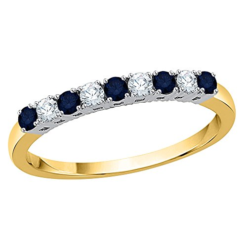 KATARINA Diamond and Alternating Blue Sapphire Wedding Band in 10K Yellow Gold (3/8 cttw, G-H, I2-I3) (Size-7)