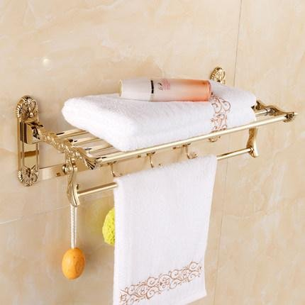 Bbslt Gold Continental Glass Dressing Table Hand Towel Holder Bathroom  Accessories/bathroom Cosmetic Shelf Rack
