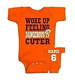 Personalized - Woke up feeling dangerous-ly CUTER, baby front & back design bodysuit, I woke up feeling dangerous, Cleveland Baker Mayfield baby fan