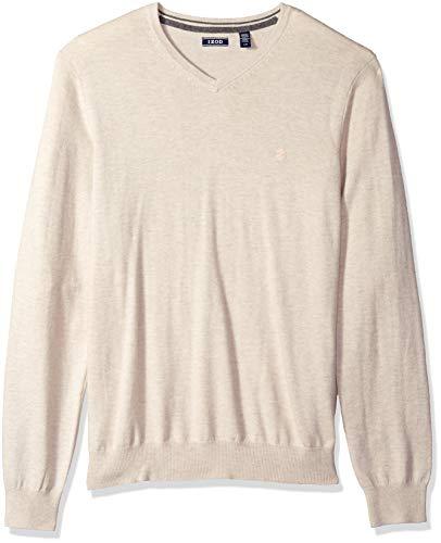 IZOD Men's Premium Essentials Solid V-Neck 12 Gauge Sweater, Khaki Rock Heather, X-Large
