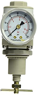 "PneumaticPlus SAR2000T-N02BG Air Pressure Regulator T- Handle, 1/4"" Pipe Size, NPT with Gauge and Bracket"