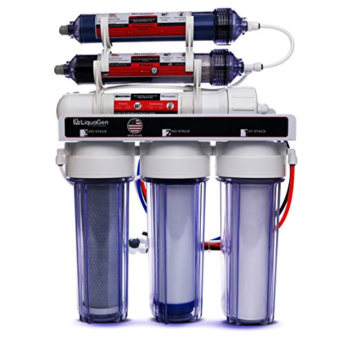 LiquaGen Portable - 6 Stage Dual Use (Drinking & 0 PPM Aquarium Reef/Deionization) Reverse Osmosis Water System (RO/DI) w/pH Alkaline Mineral Restoration Filter (150 GPD) from LiquaGen Water Technology