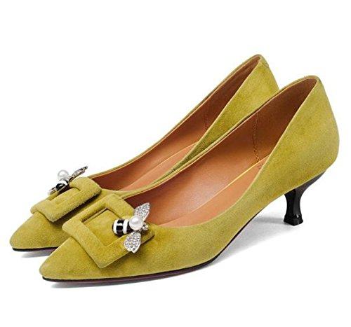 Damen Damen Wildleder Slip On Kitten Heel Party Büro Arbeit Kleid Pumps Court Schuhe Mit Strass (gelb Schwarz) Yellow