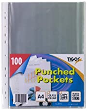 100 x A4 Glass Clear Plastic Wallets Strong Poly Punched Pocket Document Files