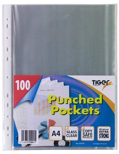 Tiger 100 x A4 GLASS CLEAR PLASTIC WALLETS Strong Poly Punched Pocket Document Paper Filing Sleeves