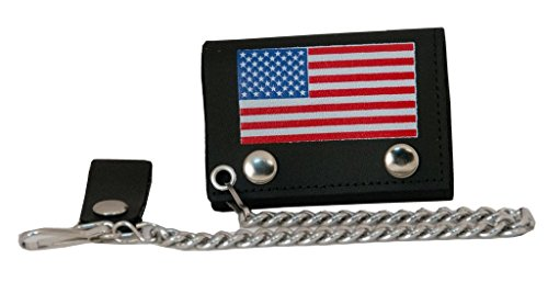 Flag Genuine Leather Chain Wallet - Trifold Genuine Leather Wallet W/Chain,Made In USA,US Flag,TC304CC- 162