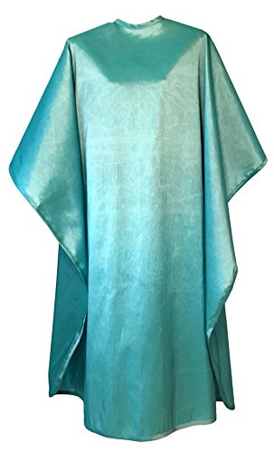Premium Quality Water Repellent Fabric Hair Cutting & Shampoo Salon Cape with Snap Closure (Turquoise)