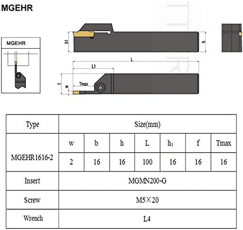 Wrench MGEHR1616-2 10Pcs MGMN200-G Inserts Fafeicy 100mm CNC Lathe Turning Tool Holder