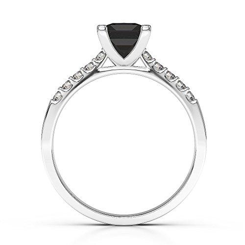Or blanc 18carats 1CT G-H/VS Certifié Coupe Princesse Bague de fiançailles de diamant Noir Agdr-1210
