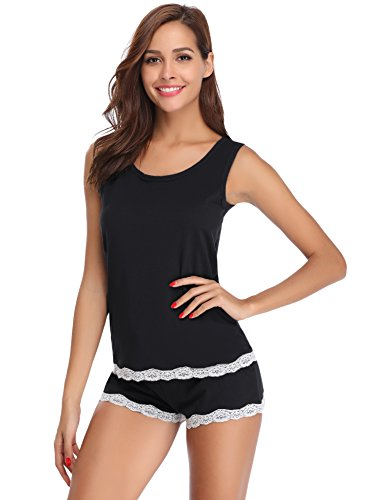 Hawiton Women's Sleepwear Shorts Sets Tank Top Bottom Pajama Cami Nightgowns Black ()