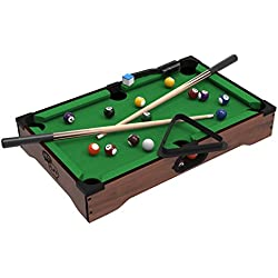 Trademark Mini Tabletop Pool Set- Billiards Game Includes Game Balls, Sticks, Chalk, Brush and Triangle-Portable and Fun for the Whole Family by Hey! Play!