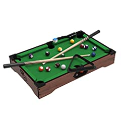 Make game night fun for family members of all ages with this Mini Pool Table by Hey! Play! This tabletop set comes with triangle rack, table brush, pool stick chalk, two pool cues, and pool balls. The compact size of the table makes it...