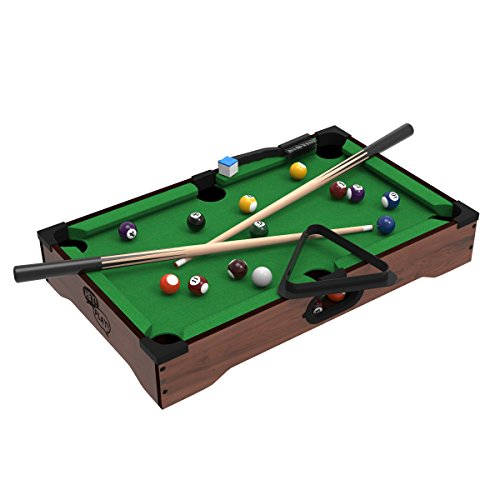 Mini Tabletop Pool Set- Billiards Game Includes Game Balls, Sticks, Chalk, Brush and Triangle-Portable and Fun for the Whole Family by Hey! Play!