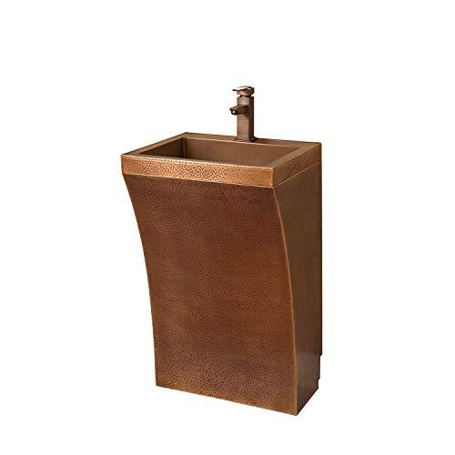 Brass Polished 4pn (Naiture Copper Curved Hammered Pedestal Bathroom Sink With 4