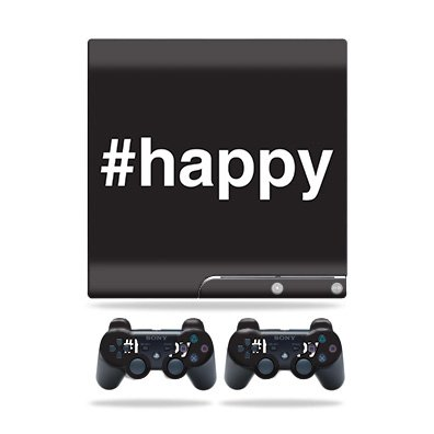 MightySkins Skin for Sony Playstation 3 PS3 Slim + 2 Controllers – Happy | Protective, Durable, and Unique Vinyl Decal wrap Cover | Easy to Apply, Remove, and Change Styles | Made in The USA
