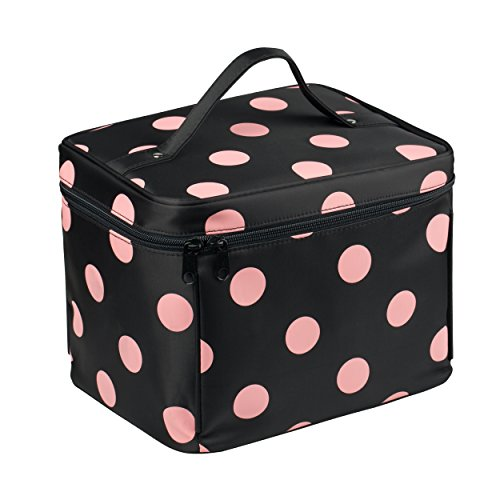EN'DA Big dots Nylon Makeup Traveling bag with quality zipper single layer large cosmetic bags for Christmas gift (Black)