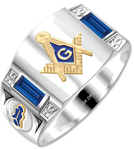 US Jewels And Gems Customizable Men's Solid Back Two Tone 10k White Gold Simulated Sapphire Freemason Masonic Ring Size 10.5