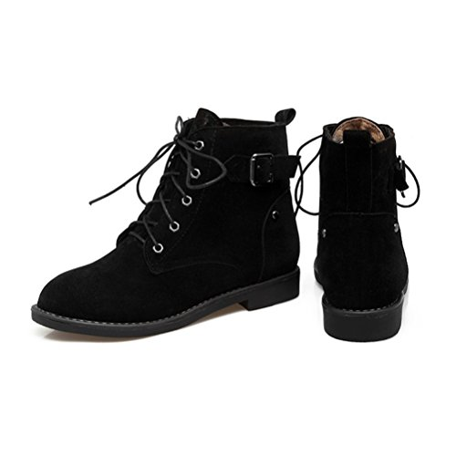 Agodor Women's Flat Heels Lace up Ankle Boots with Buckle Retro Classic Shoes Black ZlBXs1bxy