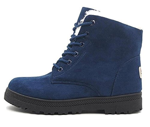 WUIWUIYU Women's Fashion Retro Lace-Up Warm Fur Lined Winter Ankle Snow Boots Casual Walking Shoes - stylishcombatboots.com