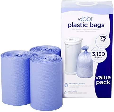 41oZP0j4OUL. AC - Ubbi Disposable Diaper Pail Plastic Bags, Made With Recyclable Material, True Value Pack, 75 Count, 13-Gallon