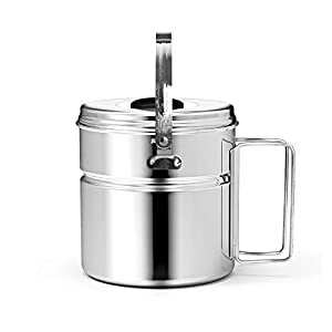 Chihee 1.2L Stainless Steel Camping Picnic Campfire Hanging Pot Folding Handle Outdoor Tableware Cookware Cooking Pan with Lid for Backpacking Hiking Picnic Camping Cookware