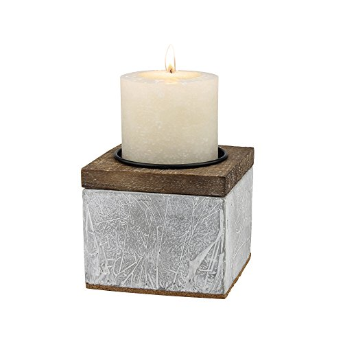 (Stonebriar Industrial Cement and Wood Pillar Candle Holder, Rustic Home Decor Accents, Decorative Piece for Living Room, Dining Room, Bathroom, and Bedroom, Small)
